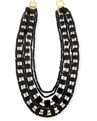Kenneth Jay Lane Multi Strand Beaded Cube Necklace Black
