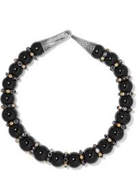 Bottega Veneta Onyx Silver And Crystal Necklace Black