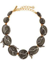 Oscar de la Renta Gray Resin Necklace With Crystals