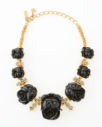 Oscar de la Renta Resin Rose Necklace Black