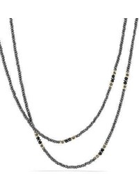 David Yurman Osetra Tweejoux Faceted Hematine Black Onyx Necklace 36l