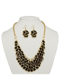 PalmBeachJewelry.com 2 Piece Black Necklace Cluster Earrings Set