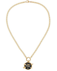 Foundrae Passion 18 Karat Gold Diamond And Enamel Necklace