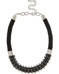 River Island Black Gem Woven Statet Necklace