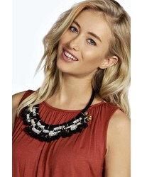 Boohoo Saskia Bead And Pom Pom Statet Necklace