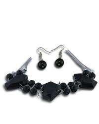 VistaBella Fashion Black Beads Large Crystal Necklace Earring Set