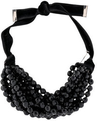 Saint Laurent Yves Black Bead Choker Necklace