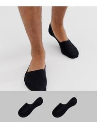 Calvin Klein 2 Pack Invisible Loafer Socks In Black