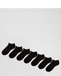 ASOS DESIGN 7 Pack Trainer Socks In Black