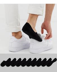 ASOS DESIGN Invisible Socks In Black 10 Pack