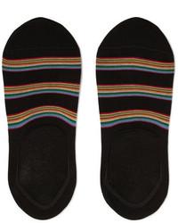 Paul Smith Striped Stretch Cotton Blend No Show Socks