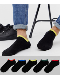 ASOS DESIGN Trainer Socks In Black With Contrast Welt 5 Pack