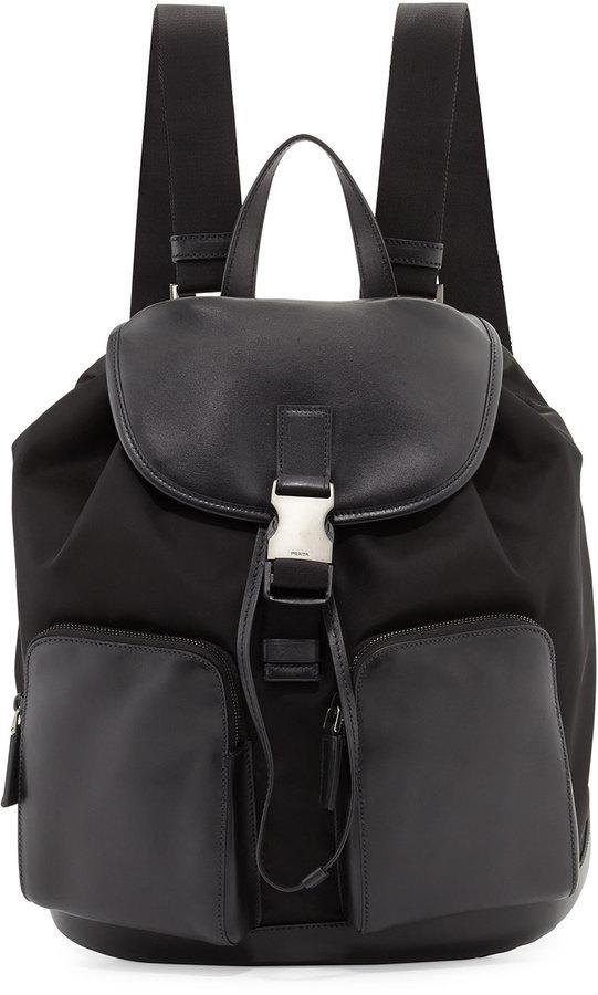 9c6929165 Prada Leather Backpack With Nylon Trim Black, $1,855   Neiman Marcus ...