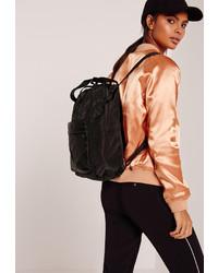 Missguided Nylon Sleek Sport Backpack Black
