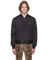 Dolce & Gabbana Black Essentials Logo Bomber Jacket