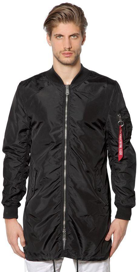 wholesale dealer d5a0b 7e361 $143, Alpha Industries Ma 1 Tt Nylon Long Bomber Jacket
