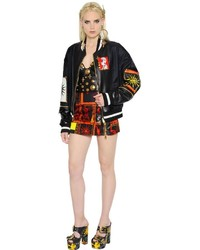 Fausto Puglisi Nylon Leather Bomber Jacket