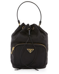 Prada Tessuto Mini Bucket Crossbody Bag Black