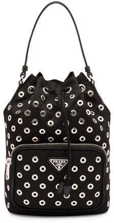 Prada Tessuto Vela Grommet Small Bucket Crossbody Bag Black