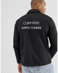 Calvin Klein Back Nylon Coach Jacket In Black