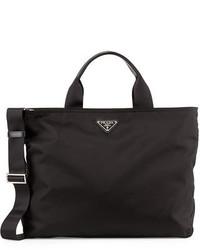 Prada Medium Double Handle Nylon Tote Bag Black