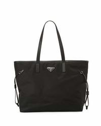 Prada Vela Side Cinch Shopping Tote Bag Black