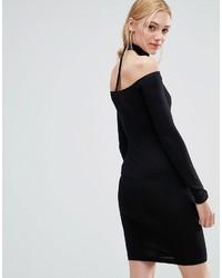 6fc66c7ba3b1 ... Asos Tall Asos Tall Long Sleeve Off The Shoulder Bardot Mini Bodycon  Dress With Choker Collar ...