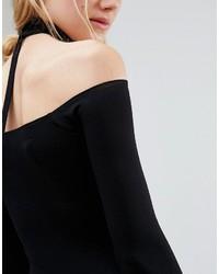 c51326bc0bc2 ... Asos Tall Asos Tall Long Sleeve Off The Shoulder Bardot Mini Bodycon  Dress With Choker Collar