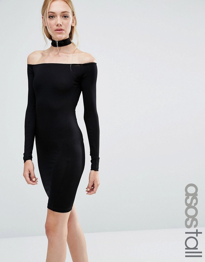 f8479d946a7 ... Black Off Shoulder Dresses Asos Tall Asos Tall Long Sleeve Off The  Shoulder Bardot Mini Bodycon Dress With Choker Collar ...