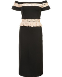 Alexis Off Shoulder Panelled Fitted Dress