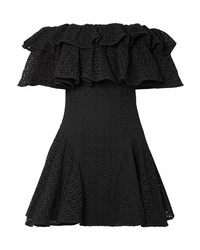 House of Holland Off The Shoulder Ruffled Broderie Anglaise Mini Dress