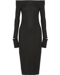Helmut Lang Off The Shoulder Wool Blend Dress Black
