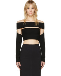 MCQ Alexander Ueen Black Bandeau Off The Shoulder Top