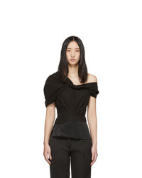 3.1 Phillip Lim Black Side Shoulder Top
