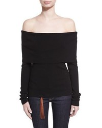 Ralph Lauren Collection Off The Shoulder Merino Wool Blend Top