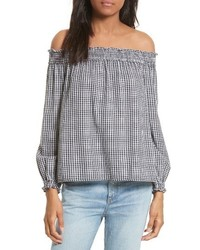 Rag & Bone Drew Gingham Off The Shoulder Top