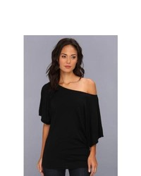 Michael Stars Michl Stars Ss Slub Off Shoulder Dolman Dress Black