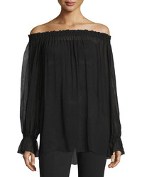 Michael Kors Michl Kors Collection Off The Shoulder Long Sleeve Top Black