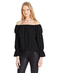 Nicole Miller Poly Crepe Off The Shoulder Top