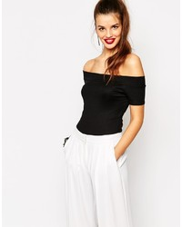 Daisy Street Off Shoulder Sleeveless Jersey Rib Bodysuit