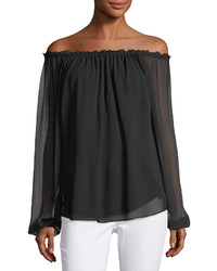 Neiman Marcus Off The Shoulder Babydoll Top