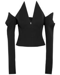 Saint Laurent Off The Shoulder Grain De Poudre Wool Top Black