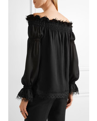 b3d9e54939e168 ... Oscar de la Renta Off The Shoulder Lace Trimmed Silk Chiffon Top Black  ...