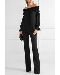 02285804aa9a32 ... Oscar de la Renta Off The Shoulder Lace Trimmed Silk Chiffon Top Black