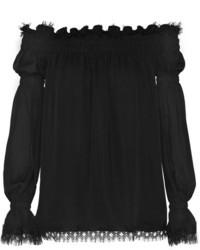 Oscar de la Renta Off The Shoulder Lace Trimmed Silk Chiffon Top Black