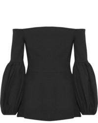 Lela Rose Off The Shoulder Wool Blend Crepe Top Black