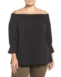 Sejour Plus Size Smocked Off The Shoulder Top