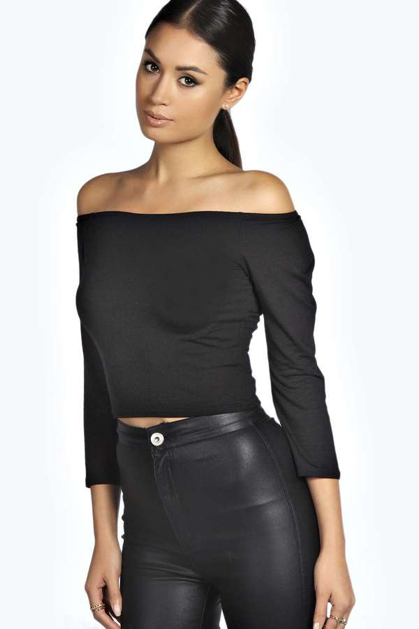 338753025e35 Boohoo Shirley Off The Shoulder 34 Sleeve Crop Top, $16 | BooHoo ...