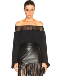 Tamara Mellon Silk Georgette Off The Shoulder Top