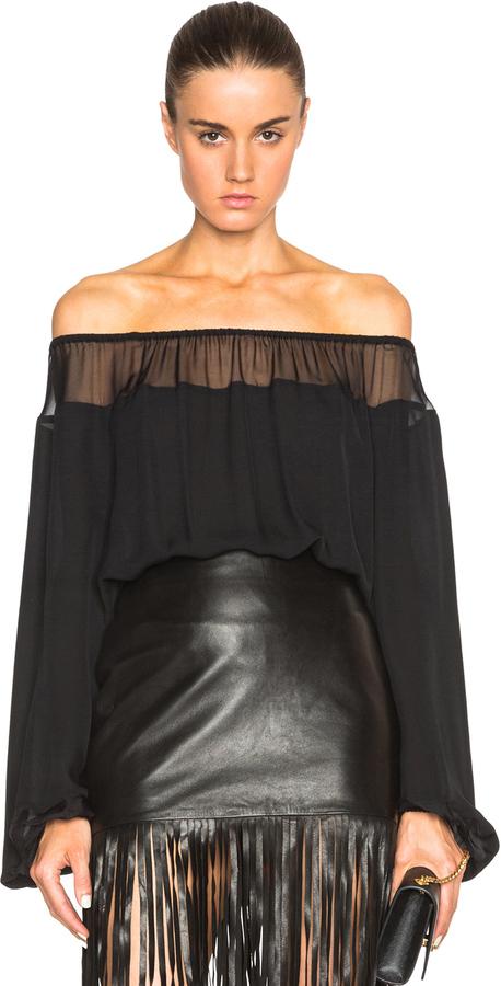9762ca9bfb4 Tamara Mellon Silk Georgette Off The Shoulder Top, $495 | Forward By ...